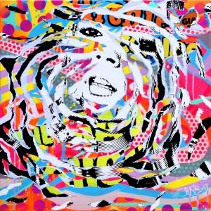 AROUND KATE by Jo Di Bona 2015 70x70 technique mixte sur toile
