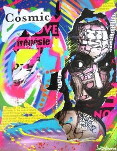 COSMIC FRENESIE by Jo Di Bona 2014 54x60 technique mixte sur toile