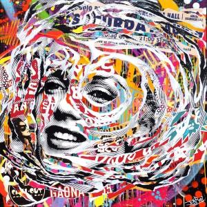 DANDY WARHOL by Jo Di Bona 2015 120x120 technique mixte sur toile