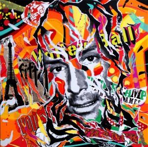 FRANCK IS SO POP! by Jo Di Bona 2015 100x100 technique mixte sur toile