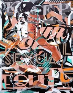 KEEP YOUR SEXUAL EQUITY by Jo Di Bona 2014 130x162 technique mixte sur toile