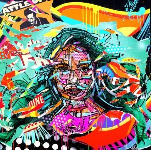 LADYBIRD by Jo Di Bona 2015 100x100 technique mixte sur toile
