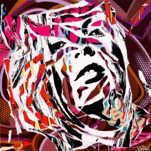 LET'S MAKE LOVE by Jo Di Bona 2015 80x80 technique mixte sur toile