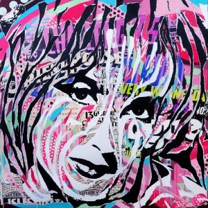 LIZ IS SO POP! by Jo Di Bona 2015 100x100 technique mixte sur toile