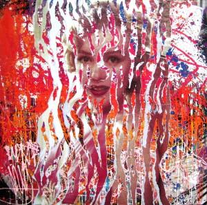 MY FUCKING MARILYN by Jo Di Bona 2014 100x100 technique mixte sur toile