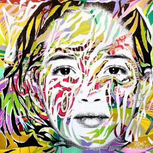 MY SUBURB IS SO POP 1 by Jo Di Bona 2015 120x120 technique mixte sur toile