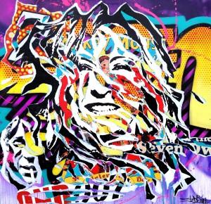 SEVEN DAYS by Jo Di Bona 2014 100x100 technique mixte sur toile