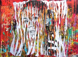 SHINY RED LIPS by Jo Di Bona 2014 162x114 technique mixte sur toile