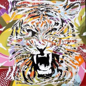 TIGER ROCK by Jo Di Bona 2015 100x100 technique mixte sur toile