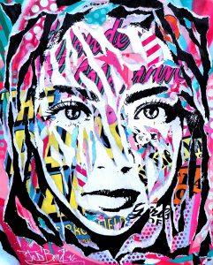 GOODNIGHT KISS by Jo Di Bona 2016 40x50 technique mixte sur papier