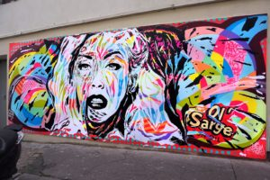 Mur réalisée pour le SOLO SHOW POP MUSIC by Jo Di Bona, Paris 2016