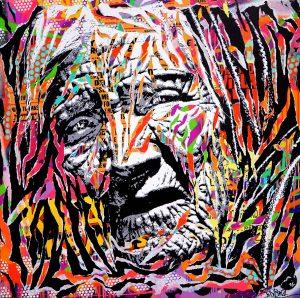 WEIGHT OF LIFE by Jo Di Bona 2016 100x100 technique mixte sur toile