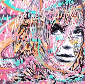 JANE ALONE by Jo Di Bona 2017 100x100 technique mixte sur toile