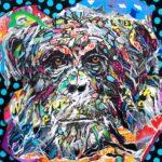 SPACE MONKEY by Jo Di Bona 2018 100x100 technique mixte sur toile