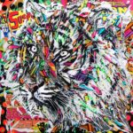 TIGER DREAMS by Jo Di Bona 2018 100x100 technique mixte sur toile
